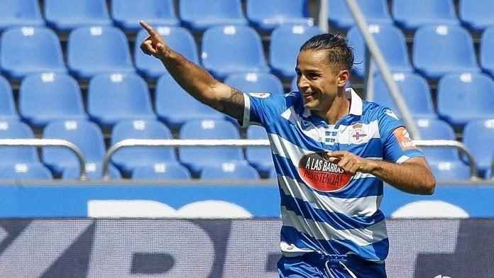 david simon celebra su gol en el deportivo extremadura de la segunda division 2019 20 laliga